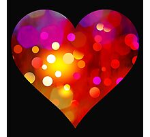 Red Bokeh Heart Black Background Photographic Print