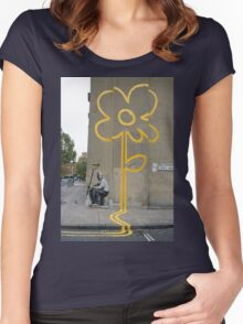 Banksy Yellow Lines Flower Painter Women's Fitted Scoop T-Shirt