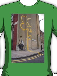 Banksy Yellow Lines Flower Painter T-Shirt
