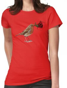 Bird with Red rose Womens Fitted T-Shirt