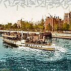 A digital painting of a Paddle Steamer passing Lambeth Palace, London, England 19th century by Dennis Melling