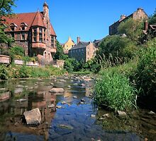 Long Exposure of The Water of Leith with Well Court (Left) & Dean Village (Right) by Miles Gray