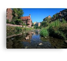 Long Exposure: The Water of Leith with Well Court (Left) & Dean Village (Right) Canvas Print