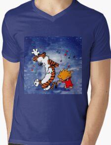 Dancing Calvin and Hobbes Mens V-Neck T-Shirt