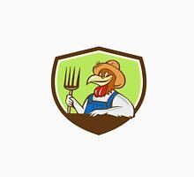 Chicken Farmer Pitchfork Crest Cartoon Unisex T-Shirt