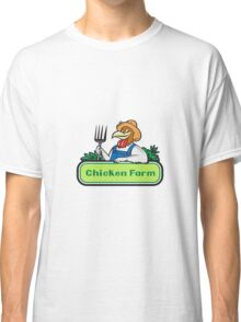 Chicken Farmer Pitchfork Vegetables Cartoon Classic T-Shirt