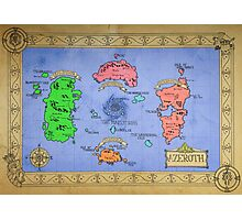 Azeroth map - Colored hand drawn Photographic Print