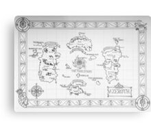 Azeroth map - Black and White hand drawn Metal Print