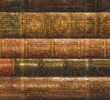 Rustic Old Books Stack on a Vintage Dictionary Page Background Sticker