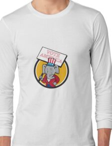 Republican Elephant Mascot Vote America Circle Cartoon Long Sleeve T-Shirt