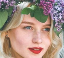 portrait of a beautiful blonde in the spring Sticker