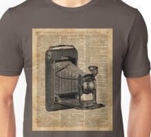 Antique Conley Camera on a Vintage Encyclopedia Background Unisex T-Shirt