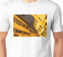 Golden Yellow Night - Chic Zigzags of Oriel Windows and Serrated Roof Lines  Unisex T-Shirt