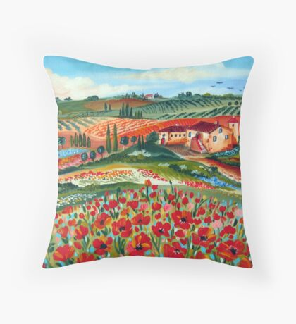 Poppies Hill in Tuscany Throw Pillow