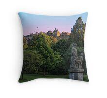 The Genius of Architecture Statue below Edinburgh Castle Throw Pillow