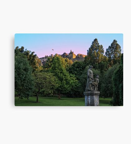 The Genius of Architecture Statue below Edinburgh Castle Canvas Print