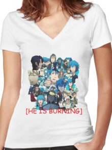 he is burning Women's Fitted V-Neck T-Shirt