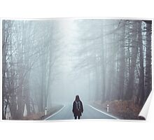 Sad lonely woman walking alone Poster
