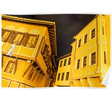 Golden Yellow Night - Elegant Revival Facades and Oriel Windows Poster