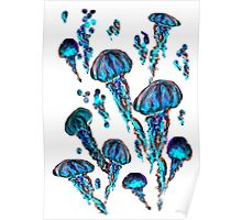 Jellyfish Electric Blue Poster