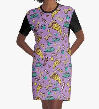 Pooch Pattern Purple Graphic T-Shirt Dress