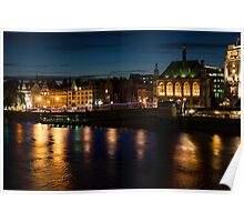 London Night Magic - Colorful Reflections on the Thames River Poster