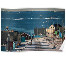 Street in Ilulissat, Greenland Poster