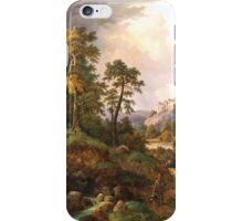 Proximity Wilhelm Schirmer (Berlin  Nyon or Vevey) Ideal landscape with hunters and ruins in the valley iPhone Case/Skin