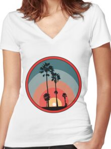 Palm Sunset - Red Women's Fitted V-Neck T-Shirt