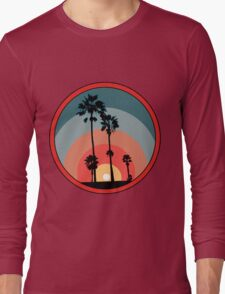 Palm Sunset - Red Long Sleeve T-Shirt