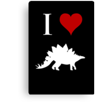 I Love Dinosaurs - Stegosaurus (white design) Canvas Print