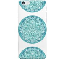 Spring Arrangement - teal & white floral doodle  iPhone Case/Skin