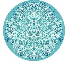 Spring Arrangement - teal & white floral doodle  by micklyn