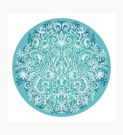 Spring Arrangement - teal & white floral doodle  Photographic Print