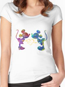 mickey and minnie watercolor  Women's Fitted Scoop T-Shirt