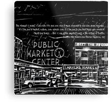 Pike Place Market: Black Metal Print