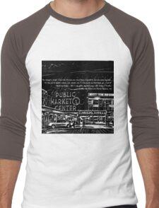 Pike Place Market: Black Men's Baseball ¾ T-Shirt