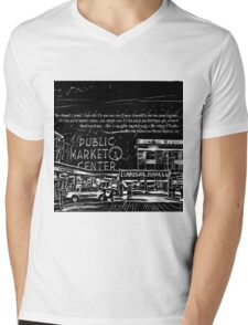 Pike Place Market: Black Mens V-Neck T-Shirt