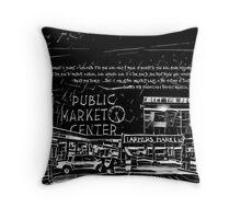 Pike Place Market: Black Throw Pillow