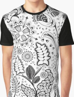 Fantasy Floral Black & White Graphic T-Shirt