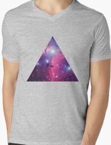 Purple Galaxy Triangle Mens V-Neck T-Shirt
