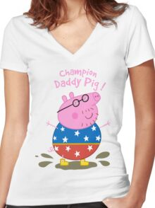 Daddy Champion Women's Fitted V-Neck T-Shirt