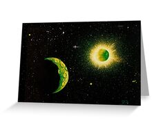 Green Moon Greeting Card