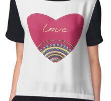Doodle ornament heart. Colorful valentine's day card.  Chiffon Top