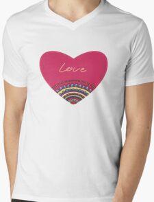 Doodle ornament heart. Colorful valentine's day card.  Mens V-Neck T-Shirt