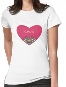Doodle ornament heart. Colorful valentine's day card.  Womens Fitted T-Shirt