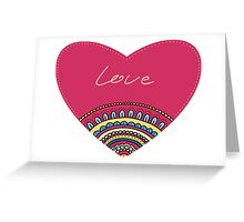 Doodle ornament heart. Colorful valentine's day card.  Greeting Card
