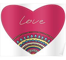 Doodle ornament heart. Colorful valentine's day card.  Poster