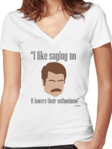 I Like Saying No Women's Fitted V-Neck T-Shirt