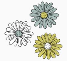 Yellow and Blue Daisies  Kids Tee
